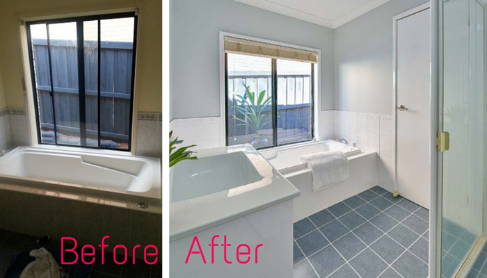 My experience renovating with tile paint gee you 39 re brave for Painting bathroom tile before and after