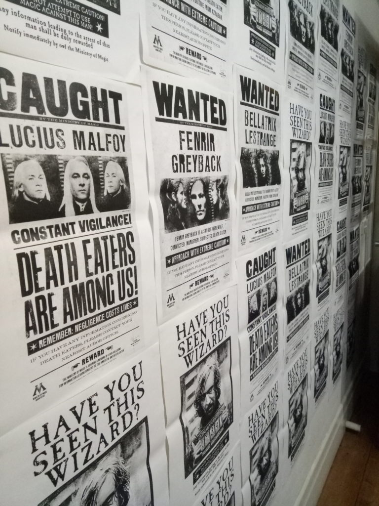 A full wall of Wanted Wizards
